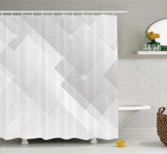 Fütüristik Desenli Duş Perdesi Gri Beyaz Şık Tasarım
