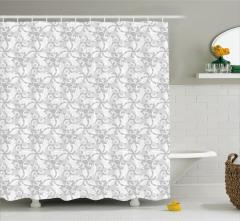 Çiçek ve Yaprak Desenli Duş Perdesi Gri Beyaz Şık