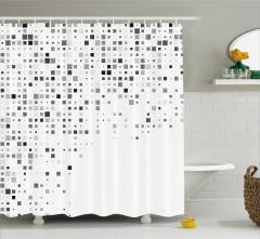 Kare Desenli Duş Perdesi Geometrik Gri Beyaz Şık