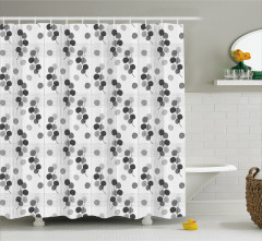 Yaprak Desenli Duş Perdesi Gri Beyaz Şık Tasarım