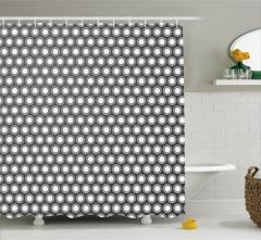 Daire Desenli Duş Perdesi Gri Geometrik Şık Tasarım