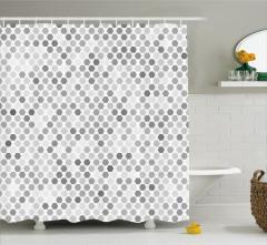 Geometrik Desenli Duş Perdesi Gri Beyaz Şık Tasarım