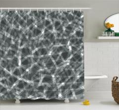 Geometrik Gri Desenli Duş Perdesi Beyaz Şık Tasarım