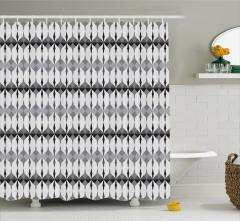 Geometrik Desenli Duş Perdesi Beyaz Siyah Gri Şık