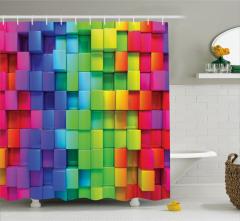 Rengarenk Küp Desenli Duş Perdesi Geometrik Şık