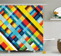 Çizgili Desenli Duş Perdesi Rengarenk Geometrik Şık