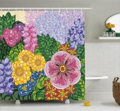 Çiçek ve Yaprak Desenli Duş Perdesi Rengarenk Şık