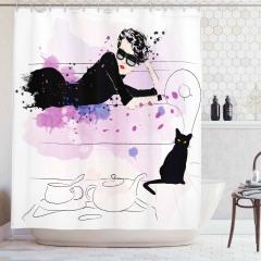 Güzel Kadın ve Kedi Desenli Duş Perdesi Siyah Pembe