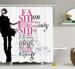Sokak Modası Temalı Duş Perdesi Kadın Pembe Siyah