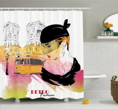 Moda Temalı Duş Perdesi Retro Kadın Portre Sarı