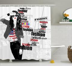Moda Temalı Duş Perdesi Şık Kadın Siyah Gri Ruj