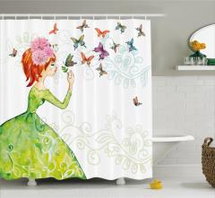 Kelebek ve Kız Desenli Duş Perdesi Yeşil Şık Tasarım