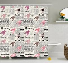 Gazete Temalı Duş Perdesi Siyah Beyaz Sayfa Moda