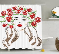 Çiçekli Kız Desenli Duş Perdesi Kırmızı Siyah Şık
