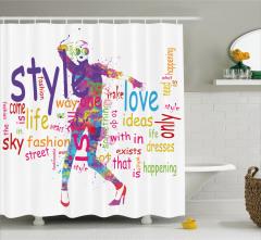 Şık Kadın Desenli Duş Perdesi Rengarenk Moda Stil