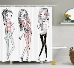 Genç Kız Desenli Duş Perdesi Pembe Moda Stil Şık