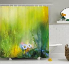 Yağlı Boya Resmi Etkili Duş Perdesi Romantik Papatya