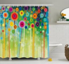 Rengarenk Duş Perdesi Suluboya Resmi Etkili