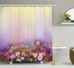 Yağlı Boya Resmi Etkili Duş Perdesi Mor Çiçekler