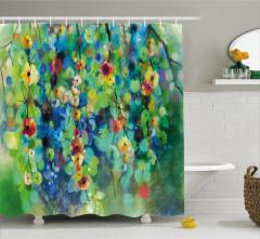 Çiçek Desenli Duş Perdesi Yeşil Mavi Şık Tasarım