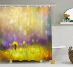 Bahar Temalı Duş Perdesi Karahindiba Sarı Mor