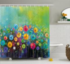 Rengarenk Çiçek Desenli Duş Perdesi Bahar Esintileri