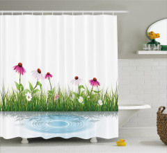 Papatya Desenli Duş Perdesi Şık Tasarım Beyaz Trend
