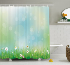 Bahar Temalı Duş Perdesi Papatya Yeşil Şık Tasarım