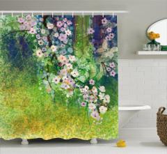 Pembe Çiçek Desenli Duş Perdesi Yeşil Şık Tasarım
