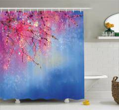 Japon Sakura Çiçeği Desenli Duş Perdesi Bahar Temalı