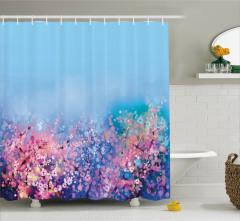 Suluboya Resmi Etkili Duş Perdesi Sakura Çiçekleri