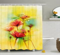 Suluboya Resmi Etkili Duş Perdesi Gelincikler Sarı