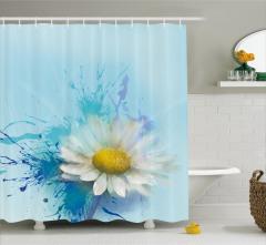 Papatya Desenli Duş Perdesi Çiçekli Mavi Beyaz Sarı