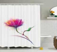 Suluboya Resmi Etkili Duş Perdesi Gelincik Çiçeği