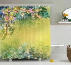 Nostaljik Çiçek Bahçesi Temalı Duş Perdesi Pastel