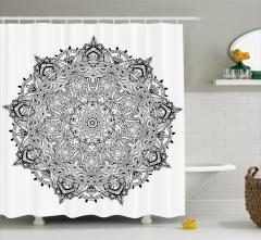 Mandala Desenli Duş Perdesi Siyah Beyaz Çiçek Şık