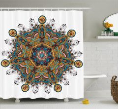 Çiçek Desenli Duş Perdesi Mandala Turuncu Mavi Şık