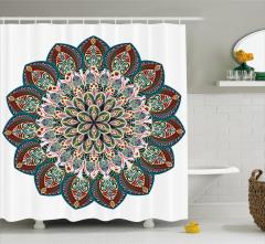 Çiçek Desenli Duş Perdesi Etnik Şık Tasarım Mandala