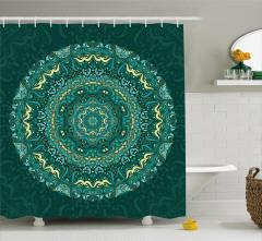Mavi Mandala Desenli Duş Perdesi Çiçek Şık Tasarım
