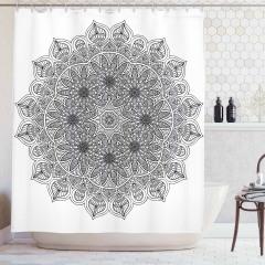 Mandala Desenli Duş Perdesi Siyah Beyaz Şık Tasarım