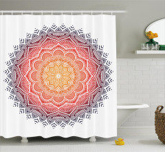 Çiçek Desenli Duş Perdesi Mandala Trend Kırmızı