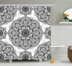 Siyah Beyaz Duş Perdesi Çiçek Desenli Mandala Şık