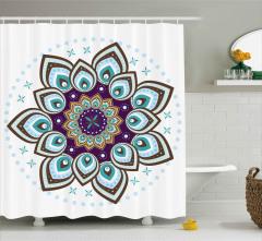 Çiçek Desenli Duş Perdesi Mavi Şık Tasarım Trend