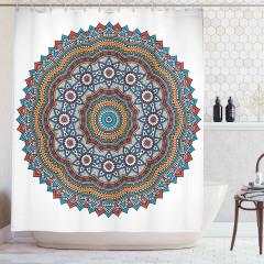 Çiçek Desenli Duş Perdesi Mandala Trend Turuncu
