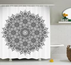 Çiçek Desenli Duş Perdesi Mandala Şık Tasarım Etnik