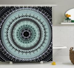 Çiçek Desenli Duş Perdesi Mavi Mandala Şık Tasarım