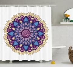 Mor Çiçek Desenli Duş Perdesi Mandala Şık Tasarım