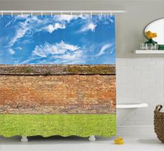 Tuğla Duvar ve Gökyüzü Temalı Duş Perdesi Dekoratif