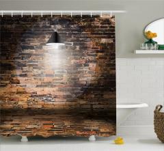 Tuğla Duvar ve Lamba Desenli Duş Perdesi Kahverengi
