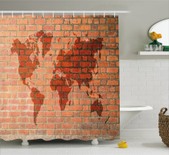 Dünya Haritası Desenli Duş Perdesi Tuğla Efektli